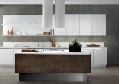 Cucina eLOS laccato bianco lucido + fire coat